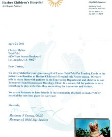 Hasbro Childrens Hospital Thank You Letter