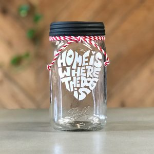 """Home is Where the Dog Is"" Red/White Stripes Mason Jar"