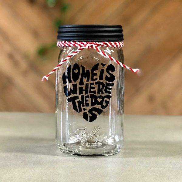 """""""Home is Where the Dog Is"""" Red/White Stripes Mason Jar"""